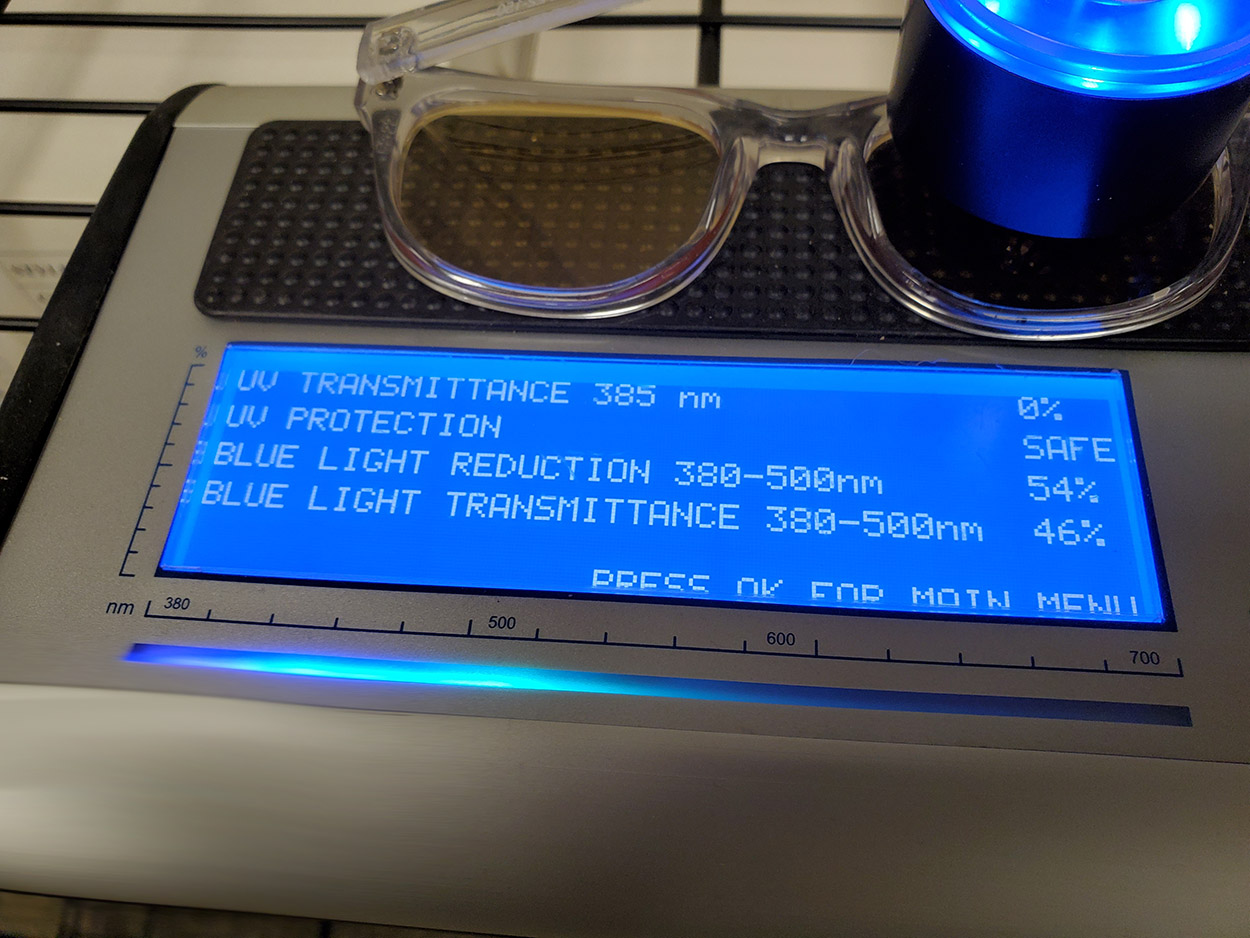 blue light and UV light lens filtration measurement